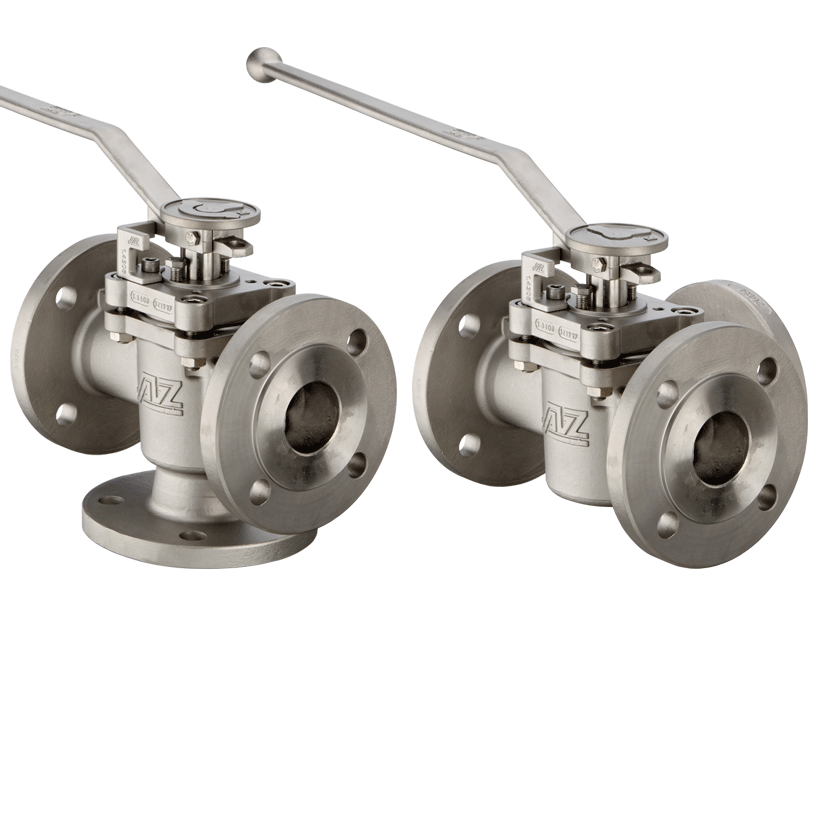 Three way plug valve vertical or horizontal