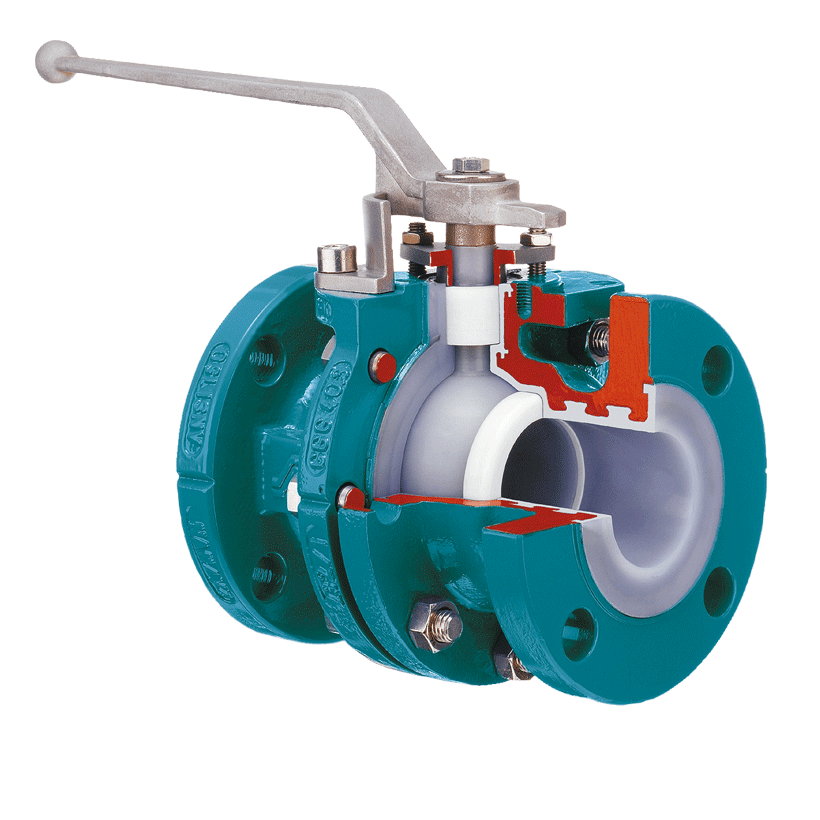 Two way ball valve with full bore, chemical-resistant lining, ISO top flange