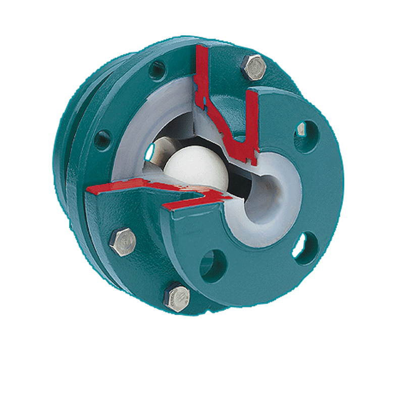 Ball check valve with FEP/PFA lining, with or without sightglass