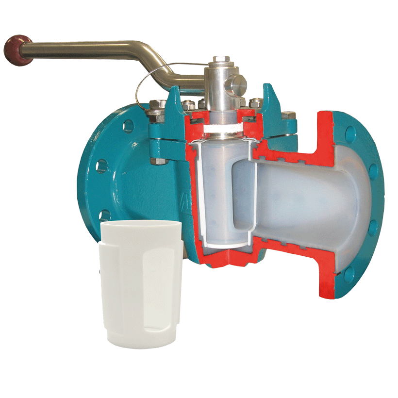 Plug valve with chemical-resistant, vacuum-proof lining, with exchangeable PTFE- Sleeve with ISO top flange