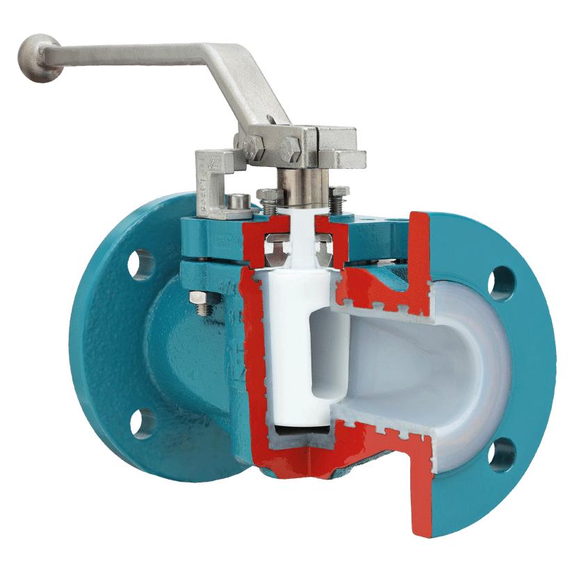 Plug valve with chemical-resistant, vacuum-proof lining, with ISO top flange, sealing system Type CA
