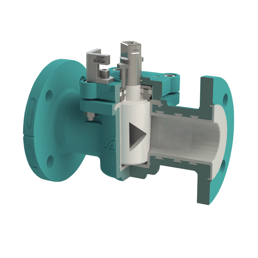 Control valve with chemical-resistant, vacuum-proof lining
