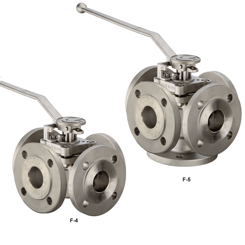 Four way and five way plug valve with ISO top flange