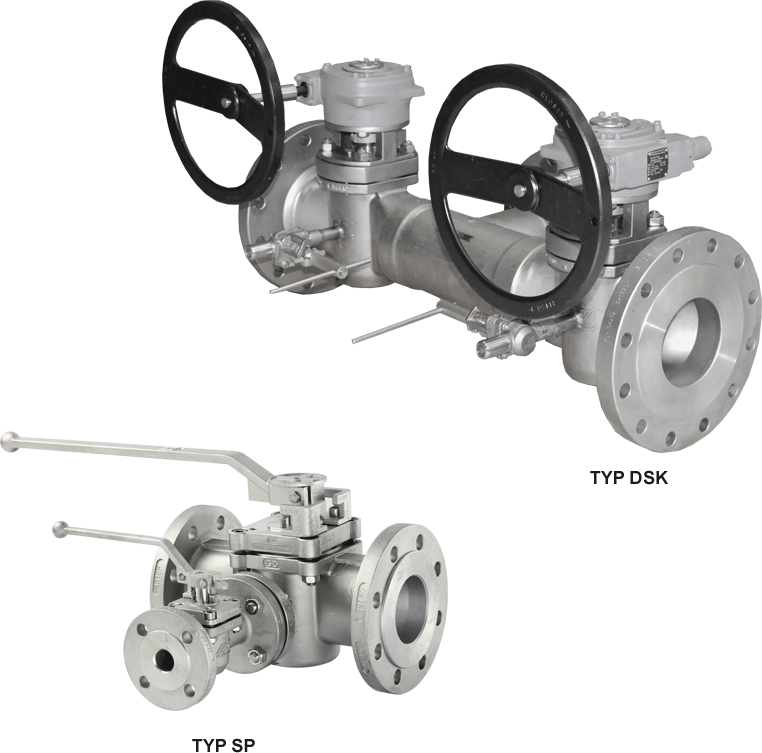 Plug valves with flushing device Cross-flushing or indirect flushing