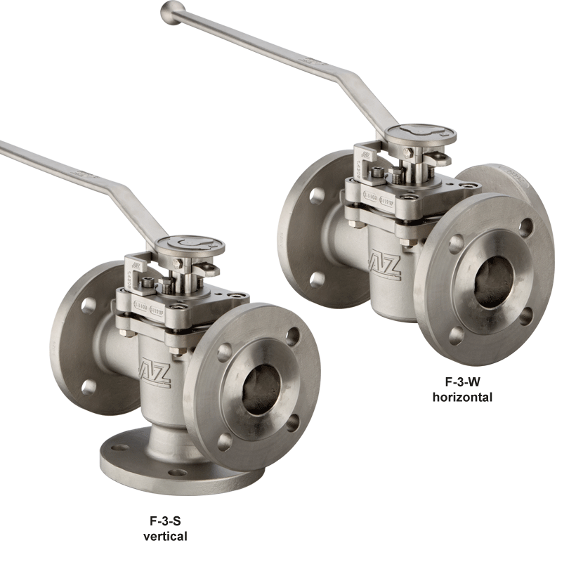Three way plug valve with ISO-top flange